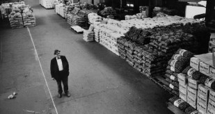An owner of Paskoff Bros. & Co., founded in 1912, stands among thousands of potatoes in the terminal on Oct. 4, 1966. (The Pittsburgh Press)