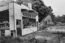 Sept. 3, 1980: After three summers without passengers, this is what remained of the Kiddie Dips, a smaller version of the signature coaster in the park. (Credit: Kent Badger/The Pittsburgh Press)