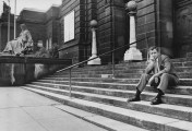 August 1984: The Pittsburgh Press ran a large magazine spread with Fischer featured prominently on the steps of the Carnegie Museum three years after the theft. (Thomas Ondrey/The Pittsburgh Press)