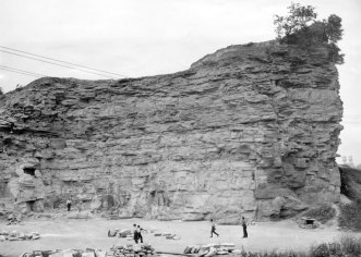 WPA quarried rock from the mound in 1938. (Sun-Telegraph photo)