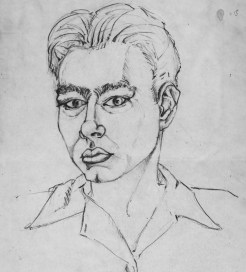 A self portrait Warhol created while a student at Schenley High School. (Credit: Handout/The Pittsburgh Press)
