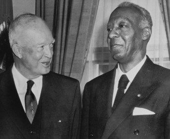 President Dwight Eisenhower with A. Philip Randolph in an undated photo. (Credit: Associated Press)