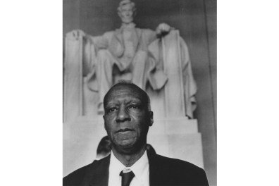 A. Philip Randolph in Washington D.C. before the Lincoln Memorial. (Credit: National Archives)