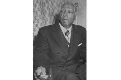 A. Philip Randolph on Sept. 21, 1966 inside the Pittsburgh Post-Gazette offices. (Credit: Pittsburgh Post-Gazette)