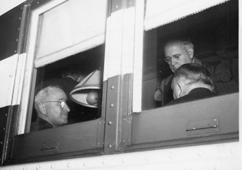 U.S. President Harry S. Truman and David Lawrence confer aboard the Freedom Train in Pittsburgh in 1948. Allegheny County Commissioner John Kane has his back to the camera. (Credit: unknown)