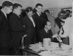 Jan. 30, 1956: Dr. Lev J. Lukin, Prof. Anatoli A. Smorodimtseo, Dr. Marina K. Vorshilova, Prof. Mikhail P. Chumakov and Dr. Jonas Salk. (Credit: Unknown)