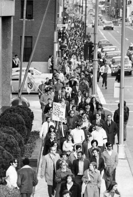 October 19, 1969: War protesters stream down the Boulevard of the Allies. (Donald J. Stetzer/Pittsburgh Press)