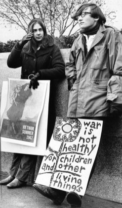 November 15,1969: Laurie Rotman of Squirrel Hill and Steve McCarthy of Mt. Lebanon, supporters of the Vietnam Moratorium demonstration downtown. (Edward A. Frank/Pittsburgh Press)