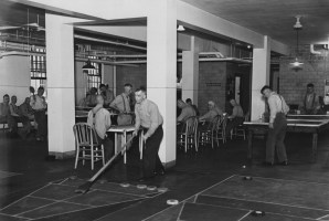Shuffleboard in the recreation hall at Woodville State Hospital in an undated photo. (Credit: Unknown)