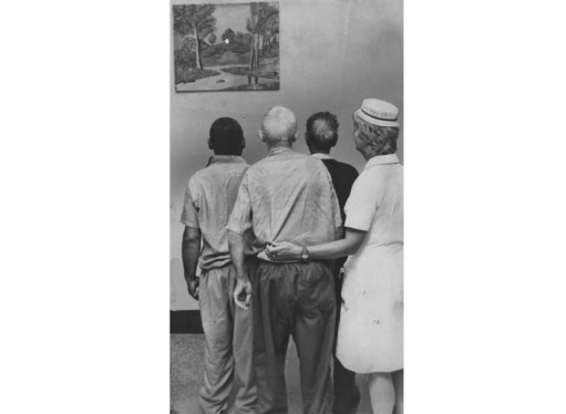 Aug. 15, 1973: The painting, under examination by a Woodville nurse and patients, was donated to Woodville State Hospital. (Albert M. Herrmann/The Pittsburgh Press)