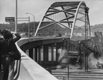 June 5, 1978: Photographers capture the clearing away of the bridge structure. (Morris Berman/Post-Gazette)