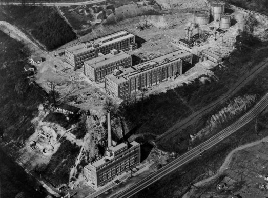 February 1948: An overhead view of the $3.5 million Bureau of Mines plant that attempted to turn coal into synthetic gasoline. (The Pittsburgh Press)