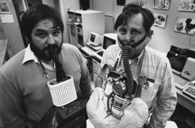 1987: Bureau of Mines employees Jack Shubilla and Wayne Duerr model new and old (left to right) mine respirators. Shubilla's model held an hour of oxygen. (Robert J. Pavuchak/The Pittsburgh Press)