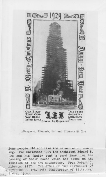Edward B. Lee, an architect who lived where the Cathedral of Learning was built, sent a 1929 Christmas Card lamenting the new structure. (Credit: University of Pittsburgh Press)