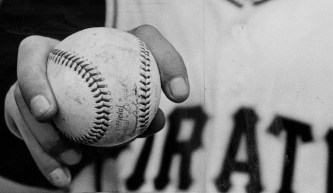 May 5, 1966: Elroy Face shows off his forkball grip. (The Pittsburgh Press)