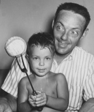 April 16, 1961: Fork. Ball. Young Gene Face and his father, Elroy. It was a kitschy symbol of the pitch that made his father famous. (The Pittsburgh Press)