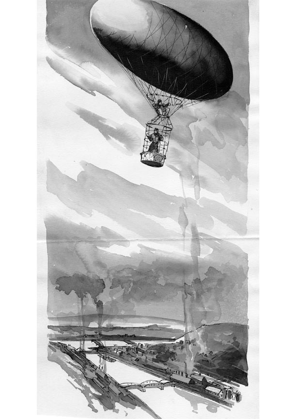 Artist rendering of the ride in a primitive dirigible. (The Pittsburgh Press)