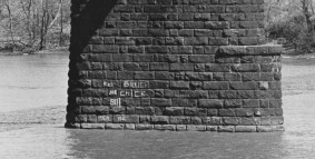 April 23, 1972: Apparently scrawled by boaters, read the Pittsburgh Press cutline, this river graffiti is not even interesting — unless roll calls turn you on.