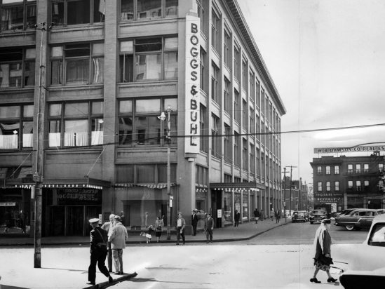 Founded in 1869, Boggs & Buhl department store marked its 84th anniversary of business in 1953. In the background is W.B. Dawson Co. Real Estate. (Pittsburgh Press photo)