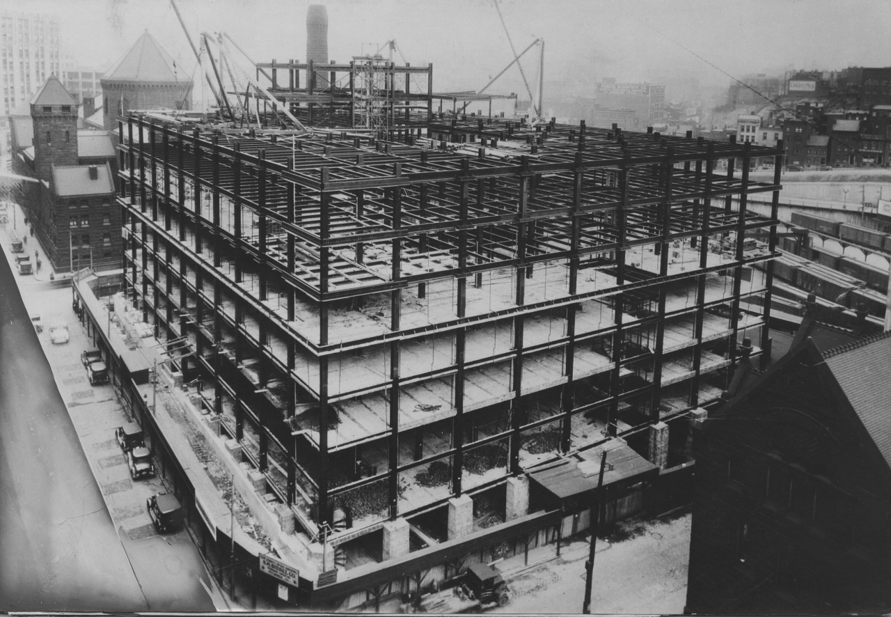 April 13, 1930: The new county office building is rising, the Pittsburgh Press wrote in the cutline of this image.