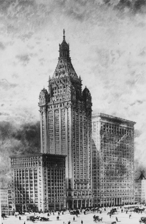What a gothic city hall might have looked like. This rendering is undated, though it was evidently considered during the early 20th century. (Credit: Unknown)