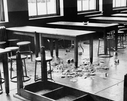 The trashed cafeteria at Oliver High School. (Pittsburgh Press photo)