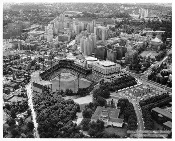 Aerial view of Oakland, 1969, The Pancake Kitchen was located on Forbes Avenue in Oakland (Courtesy of Allegheny Conference on Community Development Photographs.)