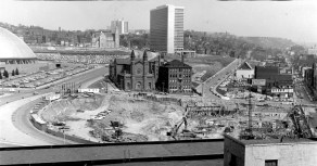 April 14, 1965: From the 12th floor of the Plaza Building, a view of the Epiphany Church and Uptown, where the site of Chatham Center was then being excavated. (The Pittsburgh Press)