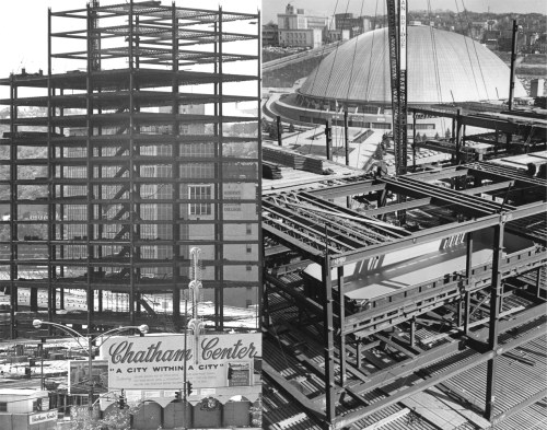Fall 1965: Steel rises over Uptown and the Lower Hill District for Chatham Center. (Left: Bill Levis/Post-Gazette; Right: The Pittsburgh Press)