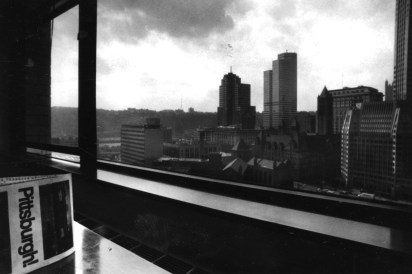 Oct. 13, 1990: A view from the 15th floor apartment of Chatham Tower. (Vince Musi/The Pittsburgh Press)