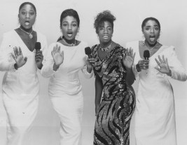 "In 1990, the Pittsburgh Playhouse staged the musical ""Dreamgirls."" From left are Kena Tangi Dorsey, Natalie Venetia Belcon, Virginia Woodruff and Vanita Harbour."