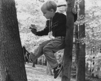 Oct. 14, 1985: Joseph Medius, 6, props himself between two trees at Bird Park in Mt. Lebanon. (Darrell Sapp/Post-Gazette)