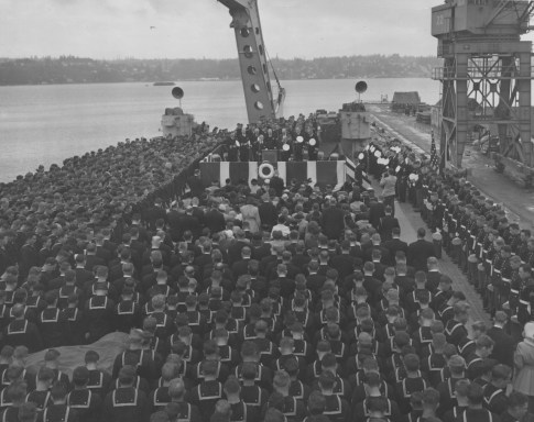 Sept. 25, 1951: The USS Pittsburgh being recommissioned in the same year Richard Pillart joined its crew. (Handout/Navy)
