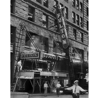 In July 1955, the Fulton's 25-year-old marquee was removed and replaced with a new one. (W.F. Mahon/Sun-Telegraph)