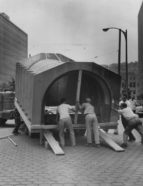July 31, 1961: The Reserve Officers Association of Pittsburgh, Chapter 45, put a fallout shelter on display in Gateway Center park, near the water fountain, for two weeks. (Don Bindyke/Post-Gazette)