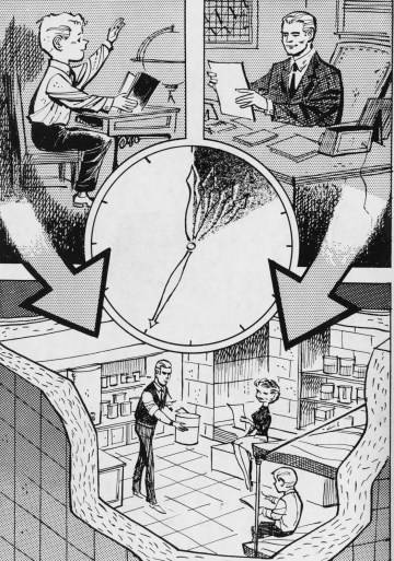 Nov. 14, 1961: A cartoon illustrating a family moving into its fallout shelter in case of nuclear emergency. (Credit unknown)