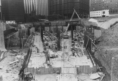 """August 1982: The subway's """"Y"""" track layout begins to take shape at the Steel Plaza. (Tony Kaminski/The Pittsburgh Press)"""