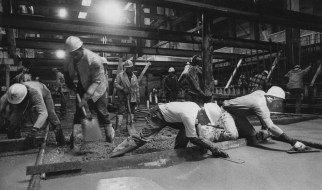 Dec. 23, 1982: Excavation work was nearly finished on the tunnel under Liberty and Sixth avenues during Christmas week as workers smoothed concrete. (Mark Murphy/Post-Gazette)