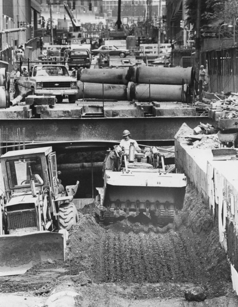 June 15, 1983: With the tunnel progressing, workers began to backfill along Sixth Avenue. (Albert M. Herrmann Jr./The Pittsburgh Press)