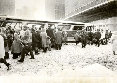 Passengers boarding the bus on Boulevard of the Allies, Post-Gazette photo, 1978.