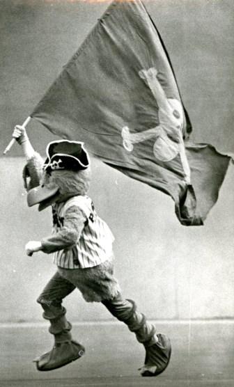 The Pirate Parrot waving a flag, Darrell Sapp/Post-Gazette, Sep.30, 1979.