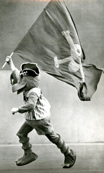 The Pirate Parrot waving a flag, Darrell Sapp/Post-Gazette, Sep.30, 1979.