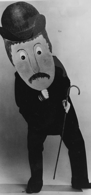 """This puppet of Charlie Chaplin starred in """"Upset the Fruitbasket,"""" Lovelace Theater Production."""