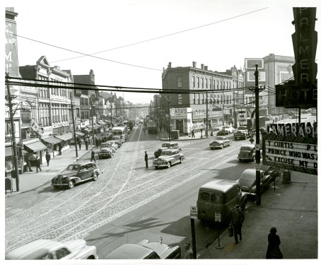 Penn and Frankstown, 1952. On that night in 1943, Christine Contillo stepped off the curb at Ludebuehl's shoe store, left, heading toward the Liberty Theatre, in the background on the far right. (The Pittsburgh Press)