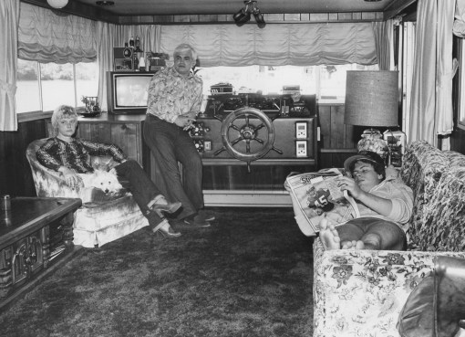 This November 1981 photograph shows Jane Cermak at left, her husband, Don and the couple's son, Ed, at home on their houseboat.