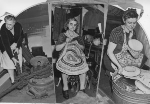 This February 1945 photo shows women on the river preparing for a flood. Mrs. Emma Grimm, left, lived on a houseboat near the 9th Street Bridge and tied up a few more lines to the shore. Mrs. Mary Gruber, 81, a former steamboat cook, isn't moving from her home near the river. At right is Mrs. William McFarland who is packing up to move to higher ground.