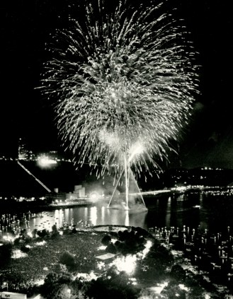 Fireworks light up the skies above the Point in 1990.