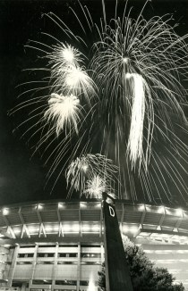 Fireworks soar above Three Rivers Stadium in July 1983.