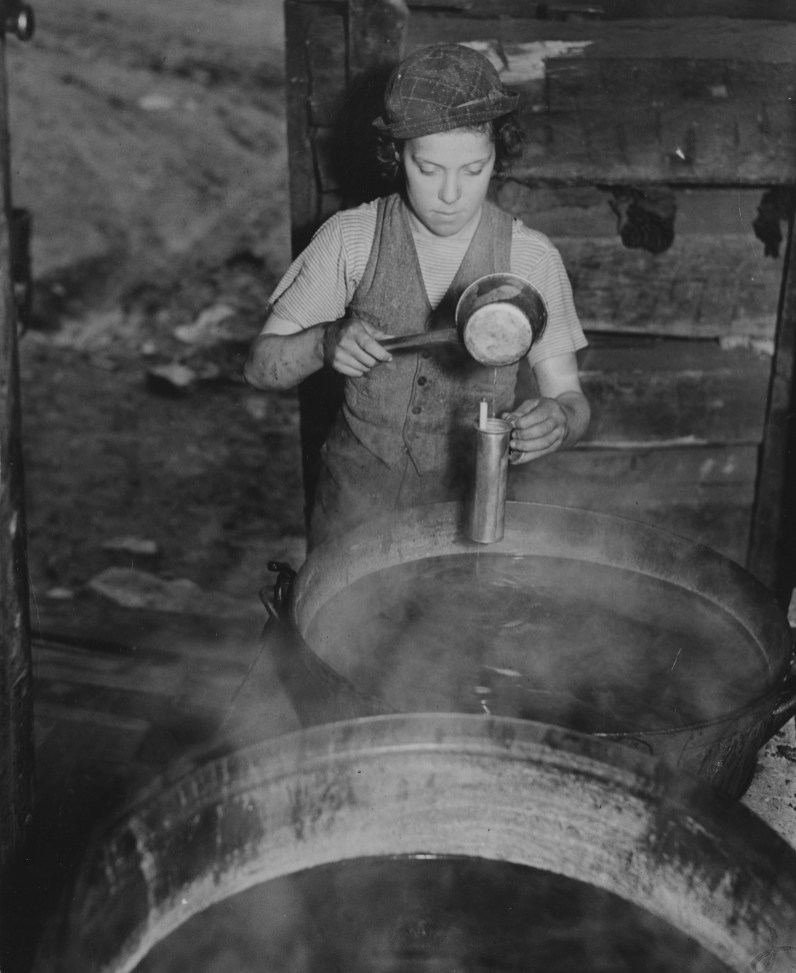 Once the sap is collected it is boiled down to create a higher sugar content.