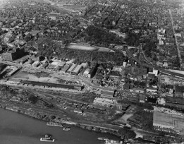June 1950: An aerial view of Pittsburgh's North Side, later known as the North Shore. Visible areas include what would become the home of Three Rivers Stadium, PNC Park and Heinz Field. Also visible is the Clark Bar Building and West Park. (The Pittsburgh Press)